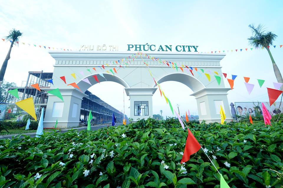 Cổng vào dự án Phúc An City đã hoàn thành