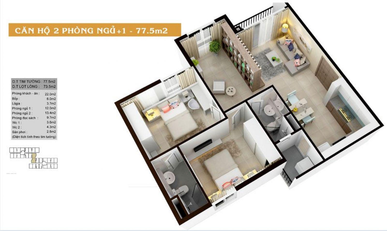 Thiết kế căn hộ 2PN diện tích 77.5m2