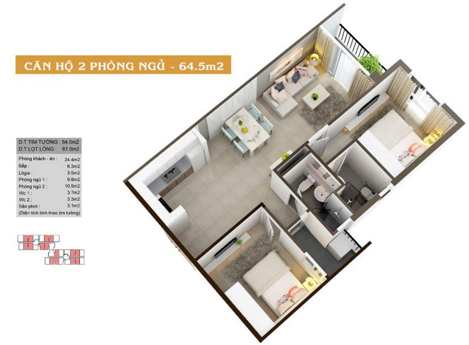 Thiết kế căn hộ 2PN diện tích 64.5m2