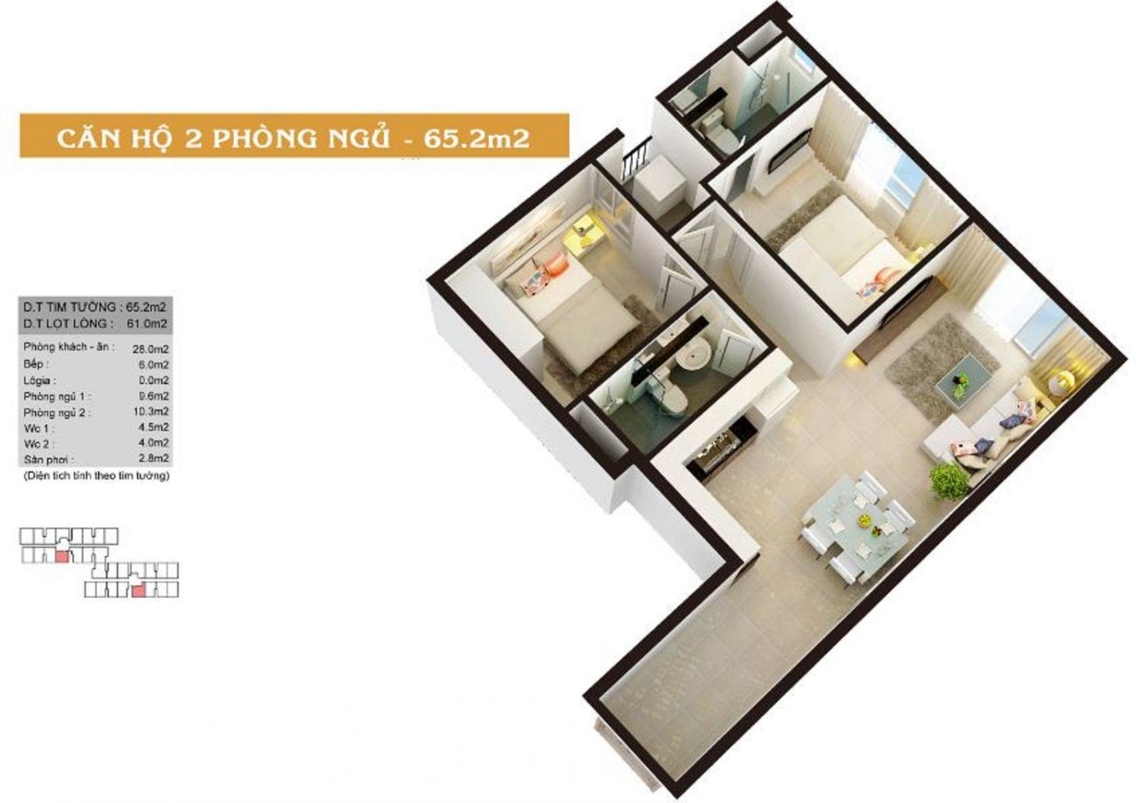 Thiết kế căn hộ 2PN diện tích 65.2m2