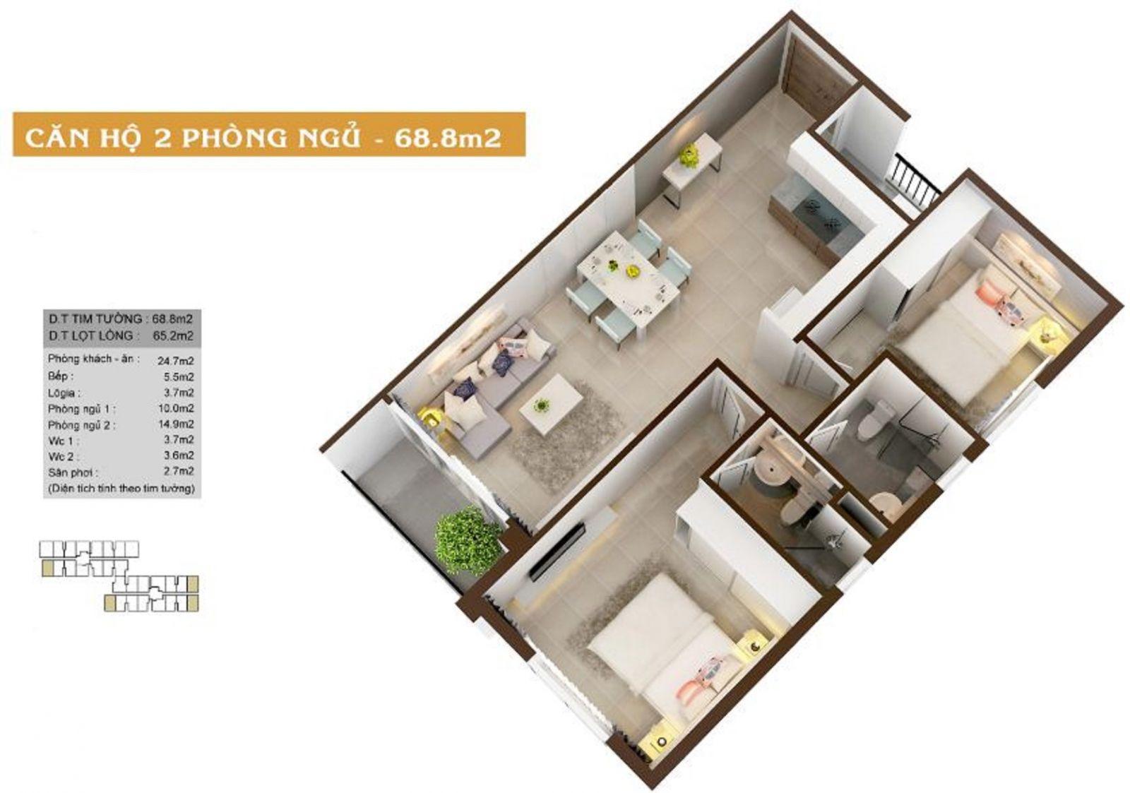 Thiết kế căn hộ 2PN diện tích 68.8m2