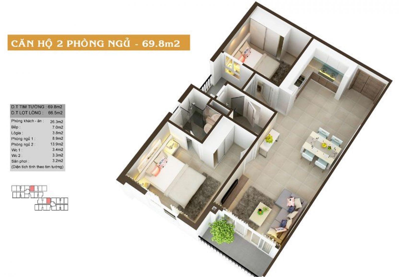Thiết kế căn hộ 2PN diện tích 69.8m2