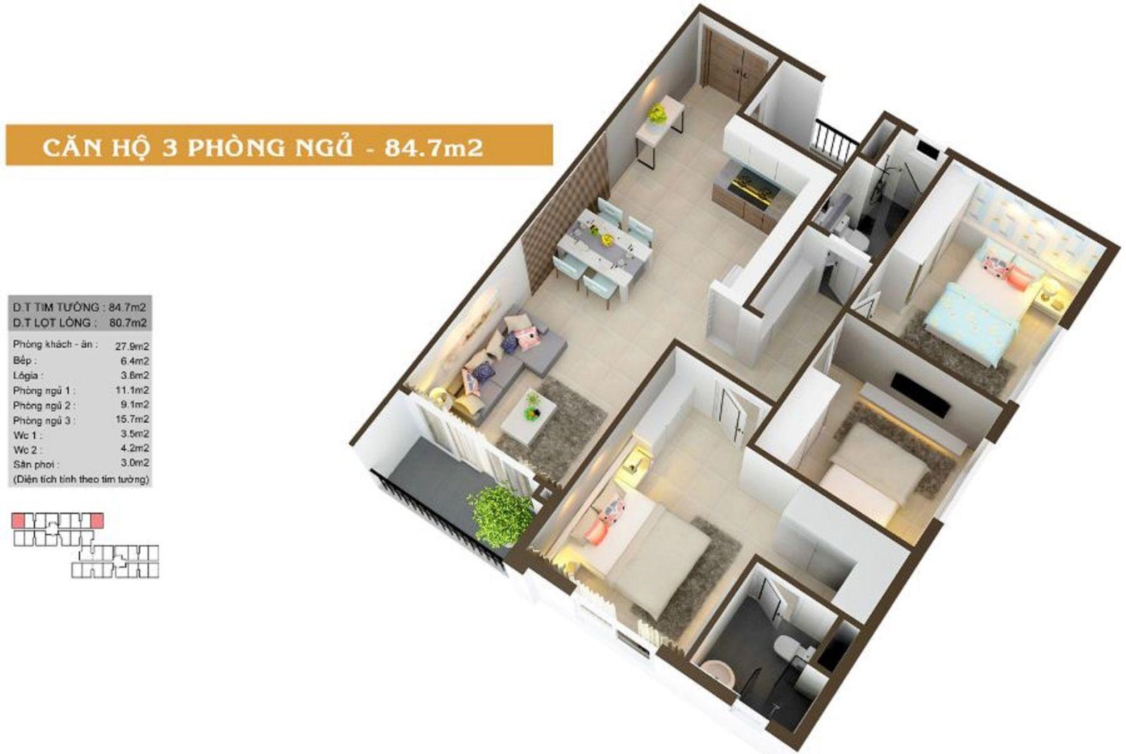 Thiết kế căn hộ 2PN diện tích 84.7m2