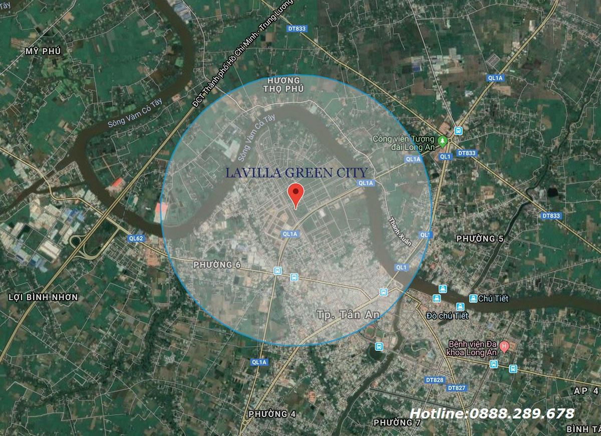 Vị trí dự án Lavilla Green City Tân An